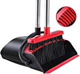 Broom and Dustpan [2021 Upgrade] Tiumso Dust pan Broom Set with Upgrade Combo and Sturdiest Extendable Long Handle,4 Layers Bristles,Upright Standing for Home, Office, Kitchen, Lobby