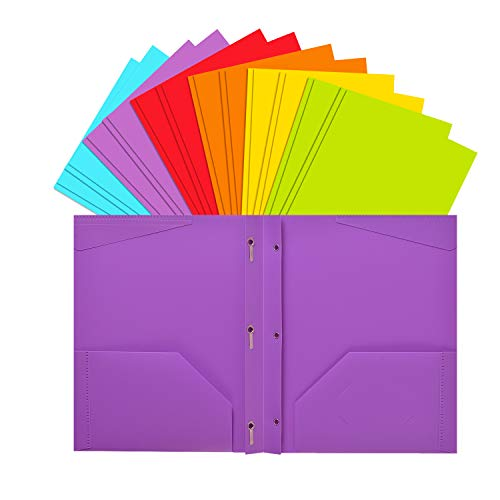 INFUN Plastic Folders with Prongs and Pockets, Heavy Duty School Folders with Pockets, Letter Size Multicolor Folders,12 Pack