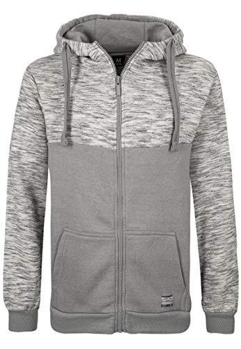 Sublevel Herren Sweat-Jacke mit Colour-Block und Kapuze Light-Grey M