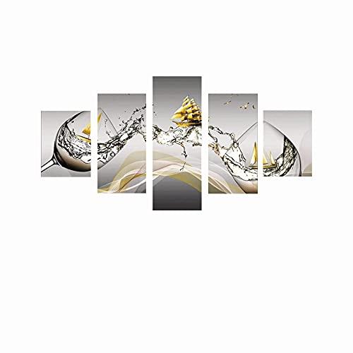 YANGYUE Impresiones de Pintura en Lienzo 5 Piezas Copa de Vino Pintura de Barco Dorado sobre Lienzo Carteles Decorativos de Pared Modernos Imágenes Decoración para el hogar 150 × 100cmSin Marco