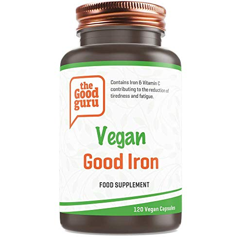 Iron Capsules by The Good Guru 15mg | Containing Vitamin C | 120 Vegan Capsules | Supports Immune System, Helps Fight Fatigue & Tiredness