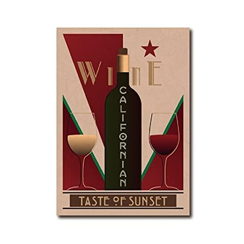 Nbqwdd Cartel Vintage De Vino Californiano Bar Arte De La Pared Imagen Decoración Carteles De Vino Restaurante Cocina Decoración del Hogar Lienzo Pintura-50X70Cmx1 Sin Marco