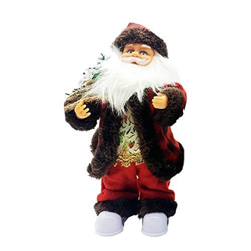 Wenhe Electric Music - Muñeco de Papá Noel, juguete de decoración para el hogar, juguete de regalo de Navidad para niños, decoración clásica para el árbol de Navidad, casa, refugio