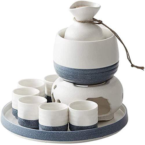 HaoLi Juego de cerámica de Sake japonés, Juego de Copas de Vino esmaltadas artesanales Tradicionales (con Bandeja y Aislamiento), cerámica sin Plomo y no tóxica, Hecho a Mano