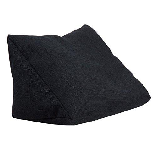 Lesekissen Keila, Rückenkissen Stallion, Keilkissen, Nackenkissen, Nackenstütze optimal als Fernsehkissen Schaumstoffflocken (schwarz)