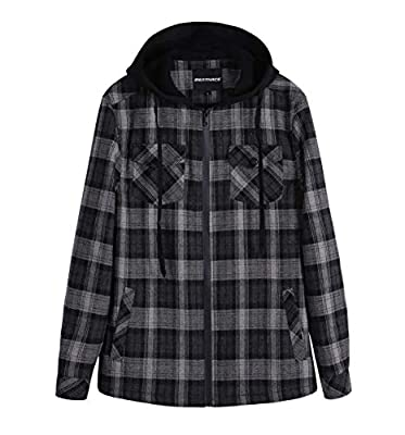 ZENTHACE Men's Sherpa Lined Full Zip Hooded Plaid Shirt Jacket Black/Grey XXL