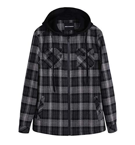 ZENTHACE Men's Sherpa Lined Full Zip Hooded Plaid Shirt Jacket Black/Grey XXL