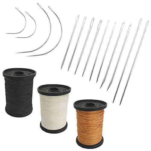 Juego de 17 agujas de mano resistentes para el hogar y hilo de tapicería extrafuerte, SourceTon 7 estilos de agujas de coser de lona de cuero y 3 hilos de nailon de 3 colores (50 yardas)