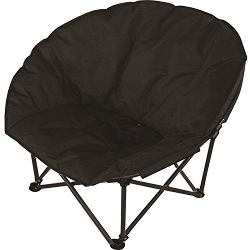 Eurotrade W Ltd Deluxe Portable Black Padded Cushion Folding Outdoor Camping Travel Festival Beach Garden Fishing Moon Chair Foldable Seat