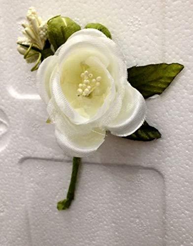 12 PZ Pick Rosa Rosellina CREMA con brillantino decorazione FIORE BOMBON