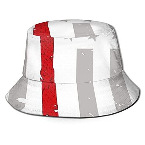 Gorra de Pescador, Bombero, Delgada línea roja, Bandera, Unisex, Sombreros de Cubo, Viajes de Verano, Playa, Gorra de Pescador, Gorra para el Sol al Aire Libre