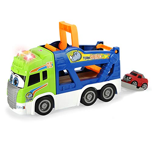 """Dickie Toys - 16"""" Happy Scania Car Transporter Pre-School Vehicle with Extra Car"""