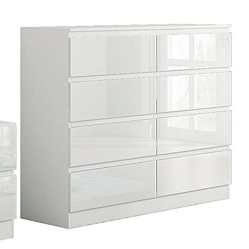Modern 8 Drawer Chest No Handle Sleek Design Bedroom Furniture - White Gloss & Matt Frame