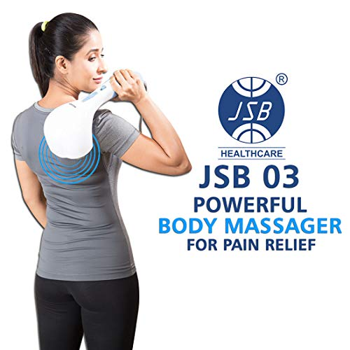 JSB 03 Body Massager for Pain Relief with Powerful Vibration (White-Blue)