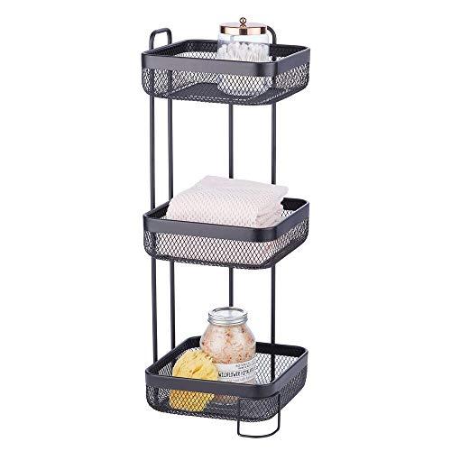 mDesign Práctico estante para el baño estrecho – Pequeña estantería de baño con 3 cestas – Elegante estante organizador de metal resistente para el champú, el jabón o las toallas – negro