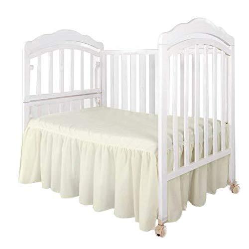 Crib Bed Skirt Dust Ruffle, Standard Size Ruffled Bed Skirt with Split Corners, 100% Microfiber Nursery Crib Toddler Bedding Skirt Gathered for Baby Boys or Girls, 14' Drop (Ivory)