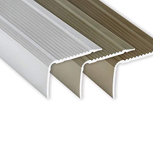 Toolerando Nez de marche | Cornière pour escaliers - 90 cm Forme L, 30 x 20 mm, Montage autocollant, Argent