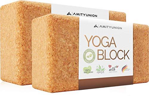 Yoga Block 2er SET Kork 100{0aeeef31942c0d54bdf54917412f3be2191445ae040be4b1e8f87dfb5cedafbb} Natur - Hatha Klotz auch für Anfänger Meditiation & Pilates, Fitness Zubehör Hilfmittel für Regeneration, Rücken, Dehnübungen & Blockaden Training, Zwei Blocks Stück 75 mm