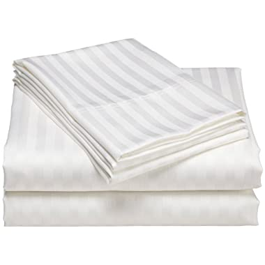 1200 Thread Count 100% Egyptian Cotton Superior Wrinkle Resistant 4PC Stripe Bed Sheet Set (King, White)