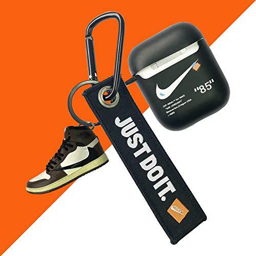 Airpod Case Protector Compatibel met Airpods 1 & 2 Zwart, Sneaker Mini schoen sleutelhanger met doos. Tieners Jongens Meisjes Mode Ontwerper Hard Case 2020 Bruin Blauw Wit Rood Accessoires, 3