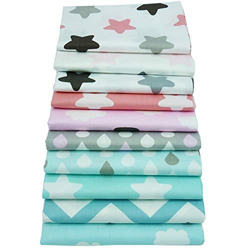 10 pedazos de los 40cm * 50cm y zigzag imprimieron los paquetes superiores de la tela de algodón, tela que acolchaba para coser artes
