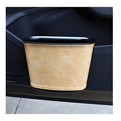 High-end Leather Car Trash Can Hanging Waterproof Car Trash Bin with Hook, Sundries Storage Bucket for Car Seat Back Car Door (Color : Beige)