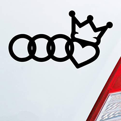 Auto Aufkleber in deiner Wunschfarbe König Liebe passend für Audi Fans Spruch 12x7 cm Autoaufkleber Sticker Folie