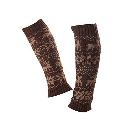 HOT!Somerl kuschelsocken strümpfe 3 Paar Elk Deer Snowflake Crochet gestrickte Socks mit Stiefelabdeckung für Beinlinge