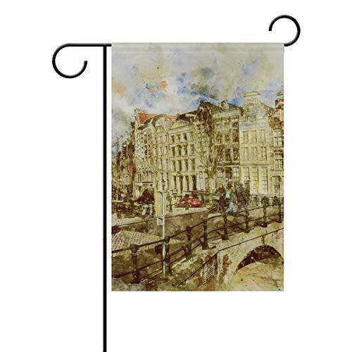 DEZIRO Amsterdam Landschap Schilderij Yard Vlag Aangepaste Tuin Vlag Dubbele Zijde 12x18(in) 1 exemplaar