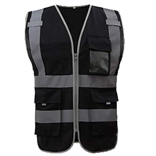 Vest Reflecterende Veiligheid Hoge Zichtbaarheid Veiligheid Vest Reflecterende Polyester Gebreide Reflecterende Vest XL-Chest124cm Zwart