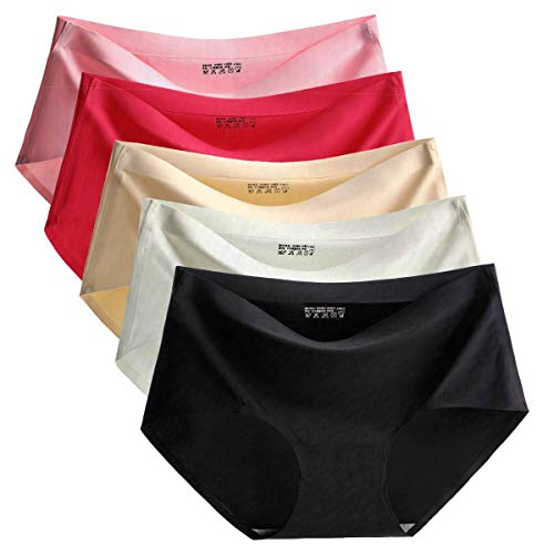 TALEVE Womens Seamless Panties Ice Silk Hipster, Assorted, Size L Fits Us M