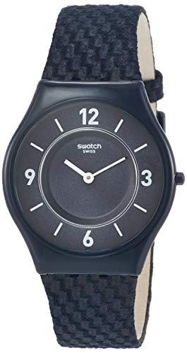 Swatch Damen Datum klassisch Quarz Uhr mit Leder Armband SFN123 - Blau (Marineblau)