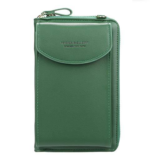 GF- women's bags Damenbrieftasche Einfarbige Diagonaltasche Multifunktions-Clutch in mittlerer Länge mit Reißverschlusstasche (Color : Green)
