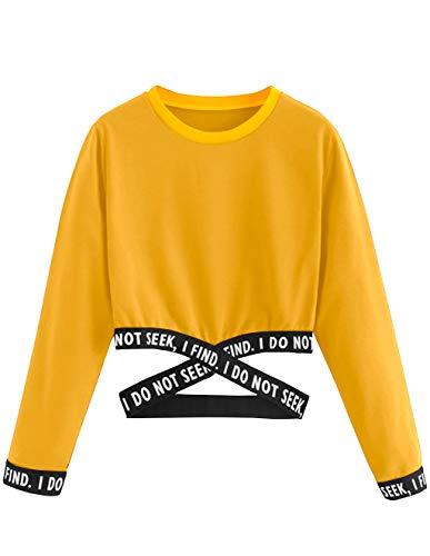 Bauchfreier Pulli Mädchen, Damen Bauchfrei Pullover Brief Drucken Casual Langarm Sweatshirt Kurz Sport Crop Tops Oberteile Sweatjacke Shirts Hemd Bluse (Gelb, XL)