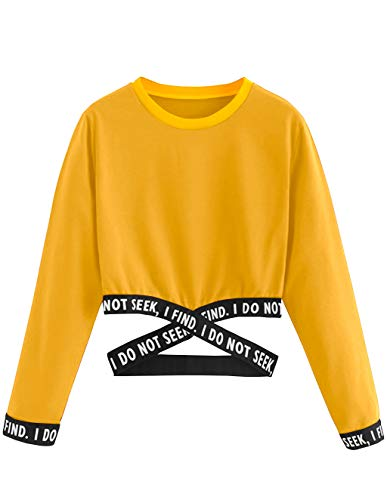 Bauchfreier Pulli Mädchen, Damen Bauchfrei Pullover Brief Drucken Casual Langarm Sweatshirt Kurz Sport Crop Tops Oberteile Sweatjacke Shirts Hemd Bluse (Gelb, S)