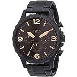 Fossil Men's Nate Quartz Stainless Steel Chronograph Watch, Color: Black (Model: JR1356)