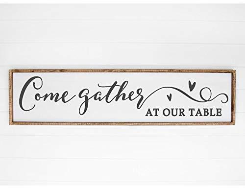 Ced454sy komen verzamelen aan onze tafel familie citaat teken boerderij Thanksgiving gezegend huis Decor Gift teken