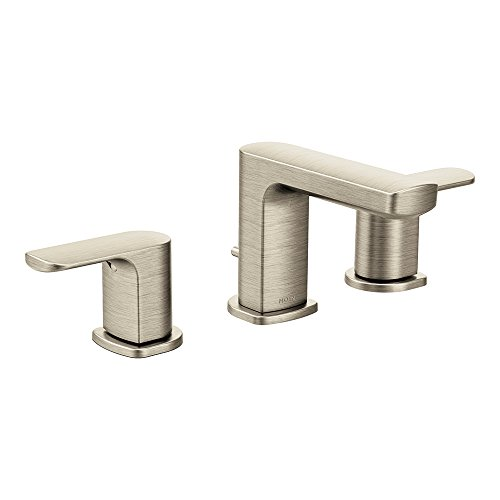 Moen T6920BN Rizon Two-Handle Widespread Bathroom Faucet without valve, Brushed Nickel