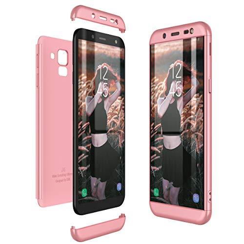 CE-Link Cover Samsung Galaxy J6 2018 360 Gradi Full Body Protezione Custodia Samsung Galaxy J6 2018 Silicone Rigida 3 in 1 Antishock e Antiurto - Oro Rosa