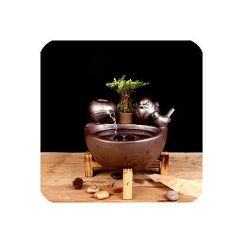 Vintage Blue Ceramic Bird Fountain Humidifier Feng Shui Home Decor Desktop Water Features Fish Tank Flower Pot Vase Lucky Gift,B