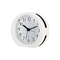 Non Ticking Analog Alarm Clock with Backlight, Loud Melody Sound, Snooze, Battery Operated. Simple to Set Clocks for Bedroom and Travel
