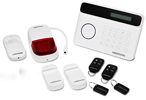 Medion MD 91400 Alarmsystem Plus mit Basisstation, Fernbedienung, RFID Chip, 2 Tür- und Fensterkontakten
