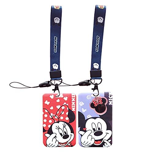 Llaves Cordón de Muñeca Correa, 2 Piezas Cordón de Mickey Mouse de Disney, Cinta Cuello Tarjeta Identificativa, Correa Para el de Gran Calidad Con Estampado de Colores Por Los Dos Lados (Azul/Rojo)