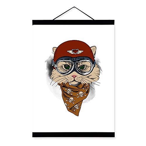 tzxdbh Vintage Retro Hippie Dierenkop Giraffe Uil Helm Art Print Poster Muurfoto's Canvas Schilderen Geen Ingelijste Thuis Jongen Room Decor Red 30cmx40cm
