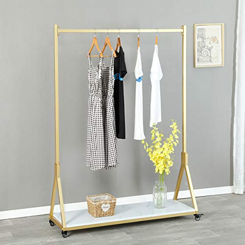 FURVOKIA Modern Simple Heavy Duty Metal Rolling Garment Rack with Wheel,Retail Display Clothing Rack with Wood,Iron Single Rod Floor-Standing Hangers Clothes Shelves (Gold Square Tube C, 47.2 L)