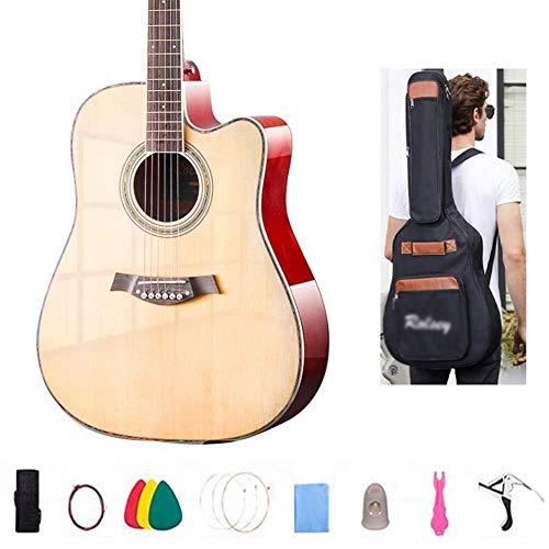 Akoestische gitaar Akoestische gitaar handgemaakte glanzend houten gitaar 6 stalen snaren Veneer Beginner's Kit Spruce Wood toets, tas, riem, Tune Full size stalen snarige akoestische gitaar