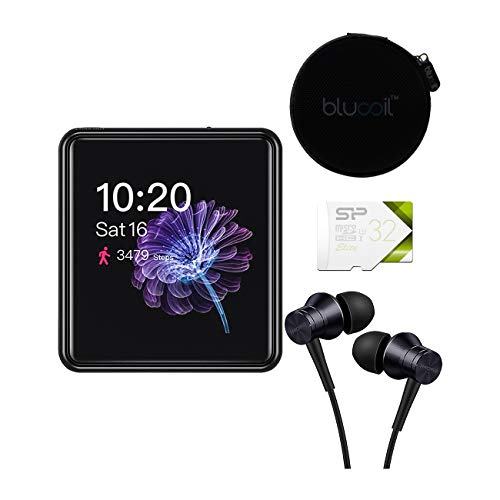 FiiO M5 Bluetooth Audio Player (Black) Bundle with 1MORE E1009 Piston Fit Earphones (Space Gray), Silicon Power 32GB Class 10 SDHC MicroSD Card, and Blucoil Portable Earphone Hard Case