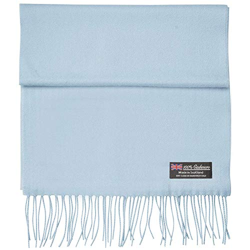 2 PLY 100% Cashmere Scarf Elegant Collection Made in Scotland Wool Solid Plaid Men Women (Light Blue Solid)
