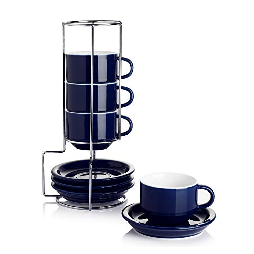 Sweese 404.403 Porcelain Stackable Espresso Cups with Saucers and Metal Stand - 2.5 Ounce - Set of 4, Navy