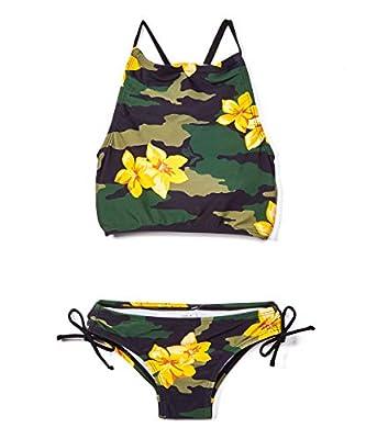 Kanu Surf Girls' Daisy Beach Sport Halter Tankini 2-Piece Swimsuit, Rylie Army Green, 12